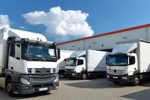 Trucks backed up into a storage facility