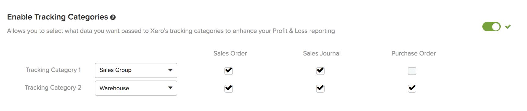xero tracking categories