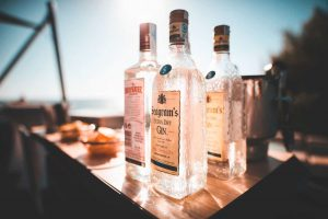 Bottles of distilled spirits