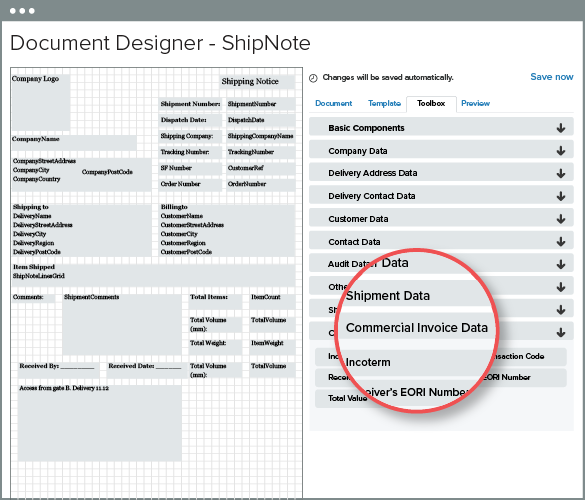 Unleashed Software - Customs data available in Doc Designer