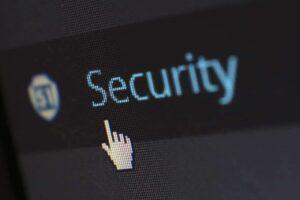 A computer displays a security sign