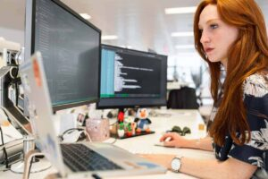 A woman using engineering software