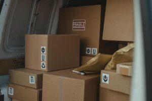 Boxes in a van