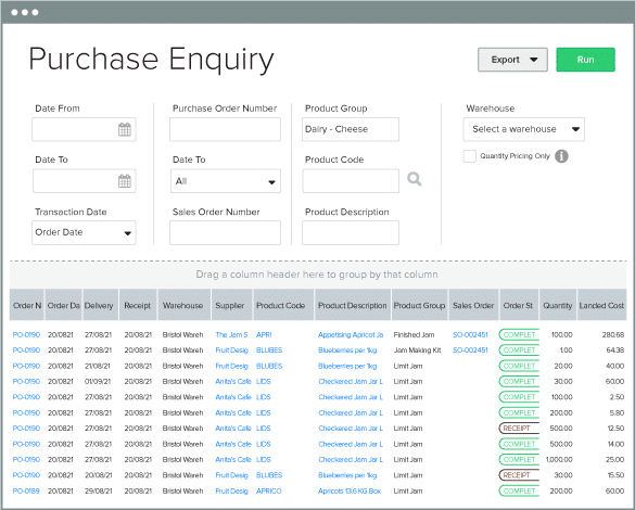Purchase Enquiry Product Group filter