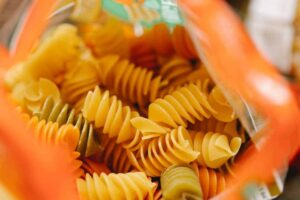 An open pack of pasta